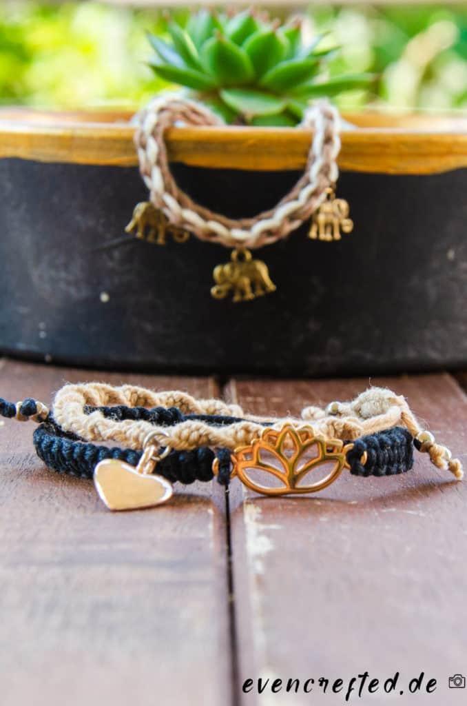 Makramee Armband selber machen aus Baumwolle mit Weberknoten oder Wasserfallknoten