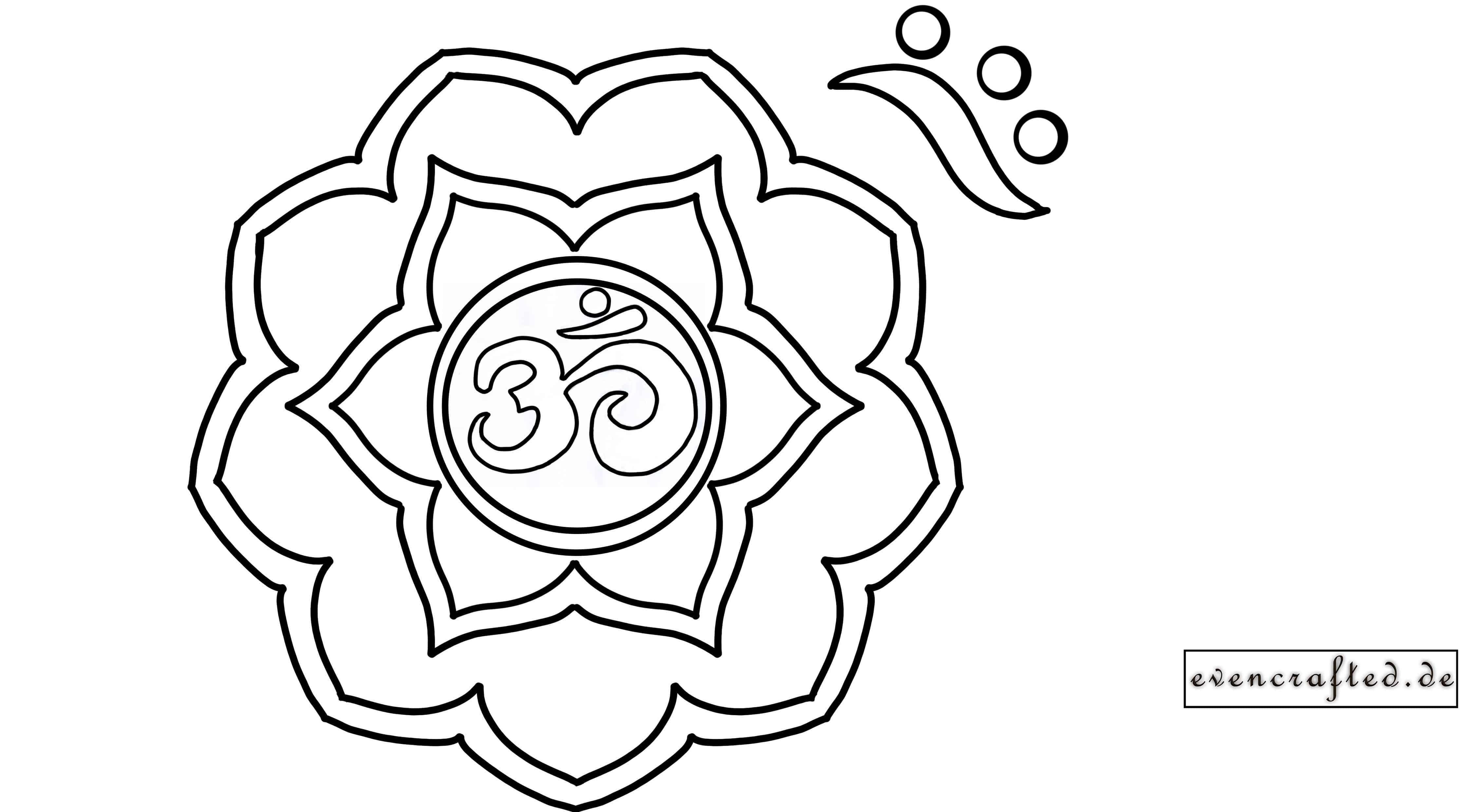 Mandala mit Om Zeichen in Bluete fuer Spritzkunst DIY