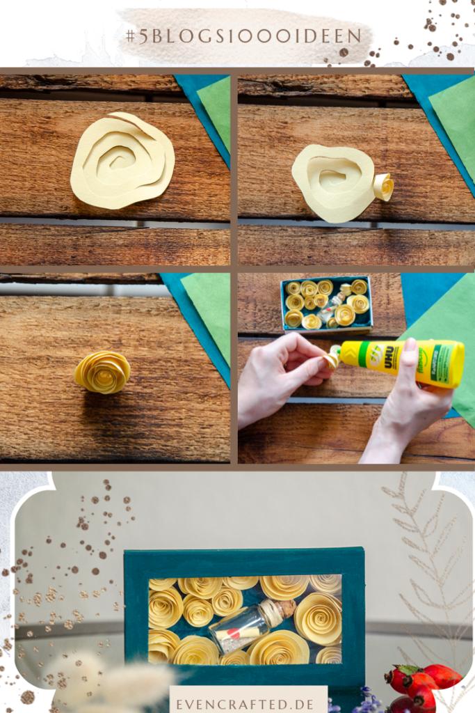 Schritt Fuer Schritt Anleitung zur Herstellung einer Liebesbotschft mit Papierblueten in einer Streichholzschachtel