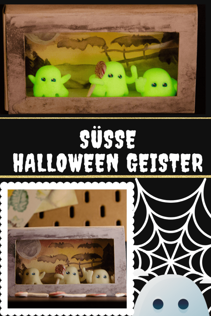 Suesse Geister aus Fimo fuer Halloween