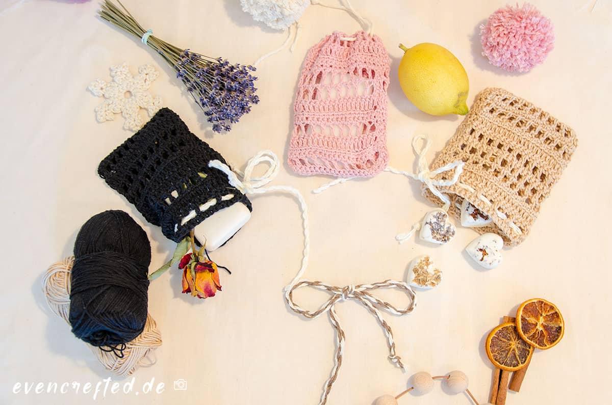 Seifensäckchen häkeln- kostenlose Anleitung | evencrafted.de ♥ DIY & Naturkosmetik Blog