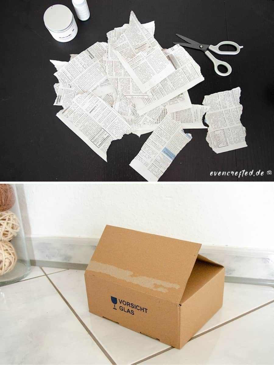 Karton bemalen & bekleben- kreative Upcycling Idee im Vintage Look | evencrafted.de ♥ DIY & Naturkosmetik Blog